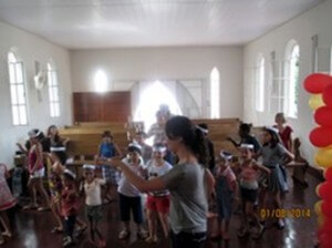 The children participating in active dance during VBS.