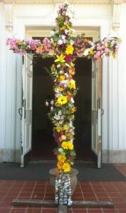 Members and friends decorated the cross on Easter morning with an assortment of beautiful spring flowers.