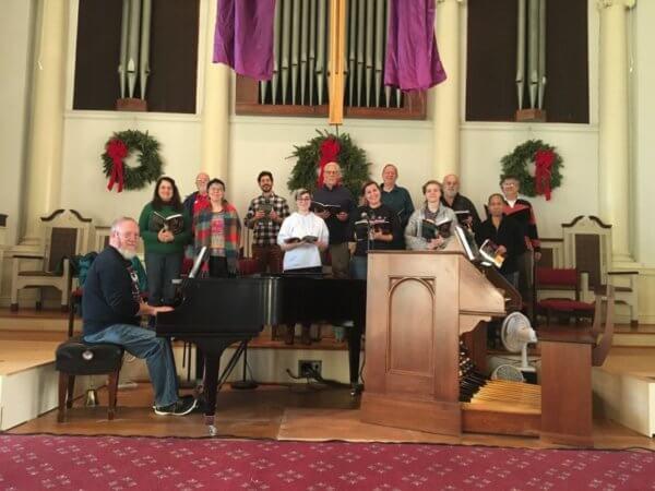 chancel choir rehearsing